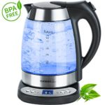Glas- Wasserkocher mit Temperatur- wahl