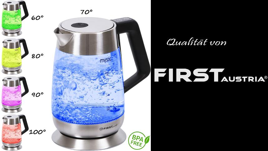 Gläserner Wasserkocher mit Temperatureinstellung mit 4 kleinen Beispielbildern, wie sich die Glas-Fabe durch die Temperatur verändert.