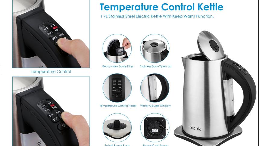 Produktbeschreibung eines Wasserkochers mit Temperaturseinstellung. Es werden 6 Produktvorschaubilder gezeigt